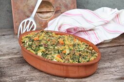 Vegetable pasta bake with a parsley crust