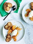 Palmiers with mandarin and creme fraiche