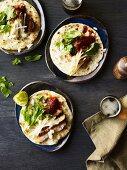 Mexican pork tacos with salsa roja and nashi