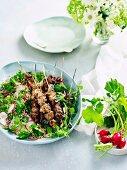Lamb Skewers with Herbs and Rabish Tabbouleh