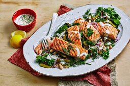 Grilled Salmon with Bean Salad