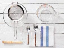 Kitchen utensils for making pizza dough