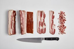 Pork belly bacon cut into slices and diced (step by step)