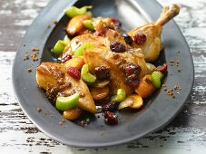 Chicken pot roast with cranberries and gingerbread crumbs