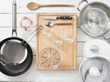 Various kitchen utensils for canning and preserving