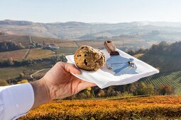 A hand holding a plate with a truffle and a truffle slicer in the Piedmont region of Italy