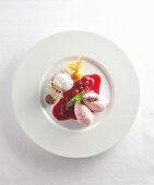 Cherry ice cream with cherry sauce