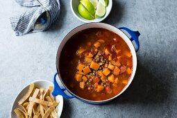 Smoky Sweet Potato and Lentil Tortilla Soup, gluten free and vegan