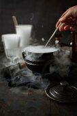 A steaming iron pot