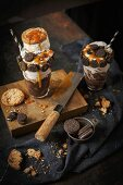 Cookie monster milkshake with Oreo cookies and vanilla ice cream