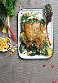 Chicken curry with colorful chard