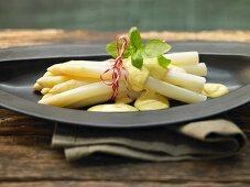 White asparagus with a hollandaise sauce