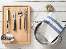 Kitchen utensils for an asparagus dish