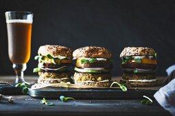 Spiced Zucchini, Feta and Chickpea Veggie Burgers with Minted Yogurt Sauce
