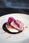 Fallow deer with red cabbage, parsnip and elderberries served at the 'Five' restaurant in Bochum in the North Rhine-Westphalia region of Germany