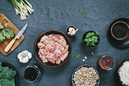 Ingredients for chicken stir fry with roasted broccoli