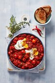 Shakshuka (poached eggs in a spicy tomato sauce)