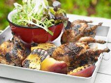 Tamarind quail with a salad garnish