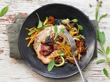 Turkey saltimbocca with zucchini and carrots