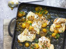 Monkfish with yellow tomatoes