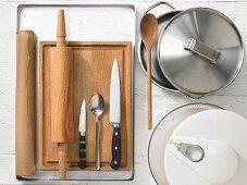 Kitchen utensils were making pizza