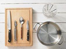 Kitchen utensils for making vegetable soup