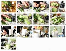 How to make cold avocado and cucumber soup with algae caviar and yoghurt