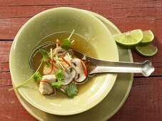 Lemongrass soup with spined loach and mushrooms