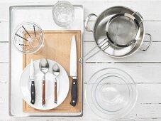Kitchen utensils for making chicken in jelly
