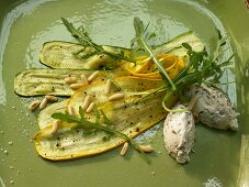 Courgette carpaccio with basil and ricotta gnocchi