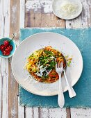 Vegetable pasta with savoy cabbage