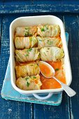 Chinese cabbage leaves stuffed with turkey and barley