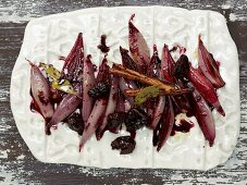 Red wine shallots with plums
