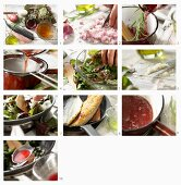 How to make roast mackerel fillets with red wine sauce on roasted beetroot leaves