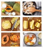 How to make a vegan smoothie with soy yoghurt, pineapple, papaya and coconut water