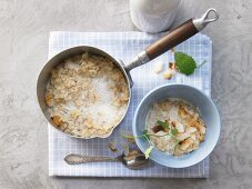 Wild rice porridge with dried mango and cardamom