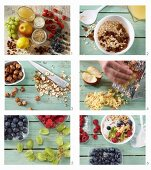 How to make fruity bircher muesli with apples, grapes, berries, sultanas and hazelnuts