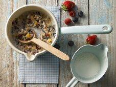 Wild rice porridge with oats, bulgur wheat and pearl barley