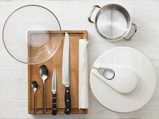 Kitchen utensils for making a quark and egg baguette