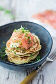 Pancakes with salmon and cress