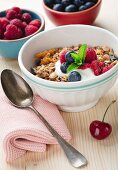 Bowl of muesli with fresh berries