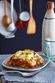 A serving of green spelt lasagna