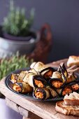 Aubergine rolls with cheese filling