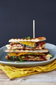 Grilled cheese sandwich with onion and vegetables