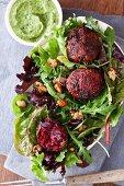 Wild herb salad with herb balls