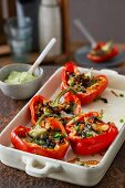 Baked stuffed red peppers