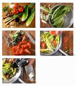 How to make braised romaine lettuce salad with tomatoes, olives and parmesan