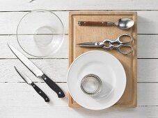 Kitchen utensils for making herring tartare