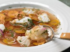 Monkfish in aspic with aquavit, dill and red onions