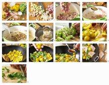 Grünes Fisch-Curry mit Tilapia, Romanesco und Tomaten zubereiten